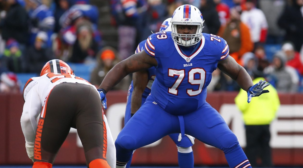 Bills right tackle Jordan Mills will face his cousin, Packers cornerback Tramon Williams, on Sunday. (Harry Scull Jr./News file photo)