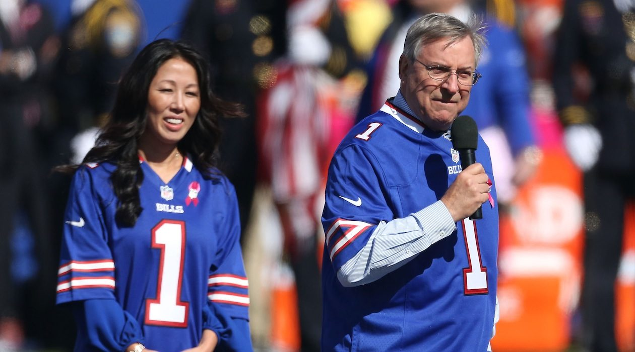 Kim Pegula, shown with her husband, Terry, seems to be drawing a welcome line against sexual harassment in their sports organization. (Getty Images)