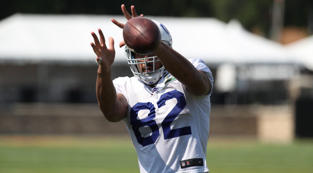Bills tight end Logan Thomas should be healthy by the time training camp starts. (James P. McCoy/Buffalo News)