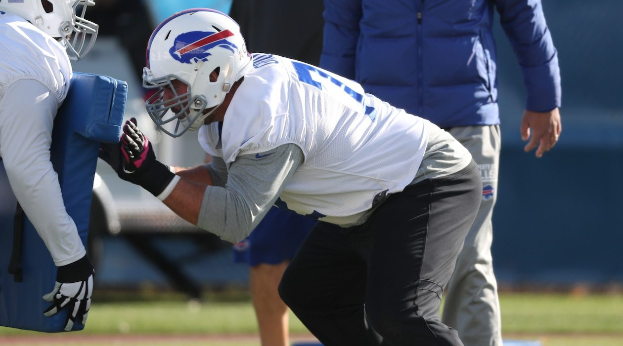 Bills offensive lineman Ryan Groy worked at a new position Monday. (James P. McCoy/News file photo)