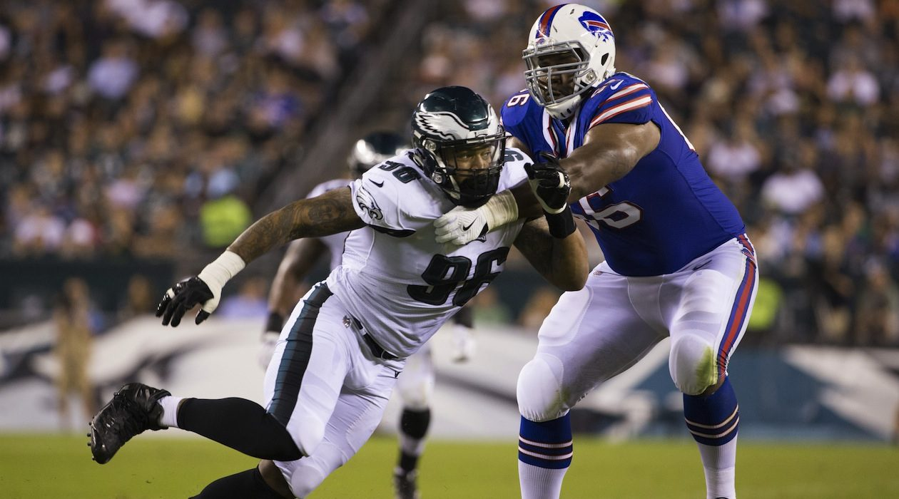 Former Buffalo Bills offensive tackle Seantrel Henderson in action against the Philadelphia Eagles.(Getty Images)