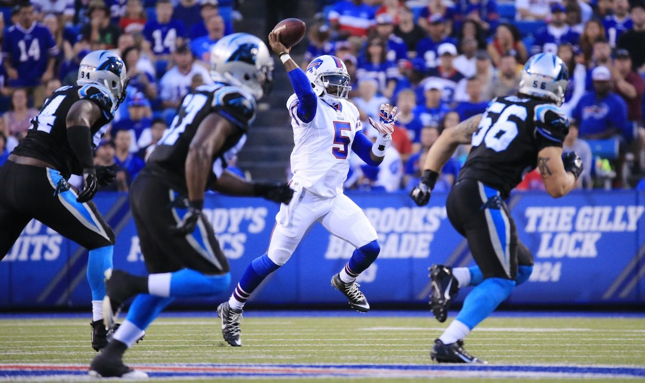 PFF's quantification of Tyrod Taylor's play helps to show just how limited he was as a passer as well as his careful approach relative to his quarterback contemporaries. (Harry Scull Jr./News file photo)
