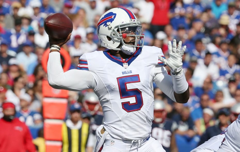Bills quarterback Tyrod Taylor is still performing much better inside the pocket than he is outside the pocket in essentially every statistical category.  (James P. McCoy/Buffalo News)