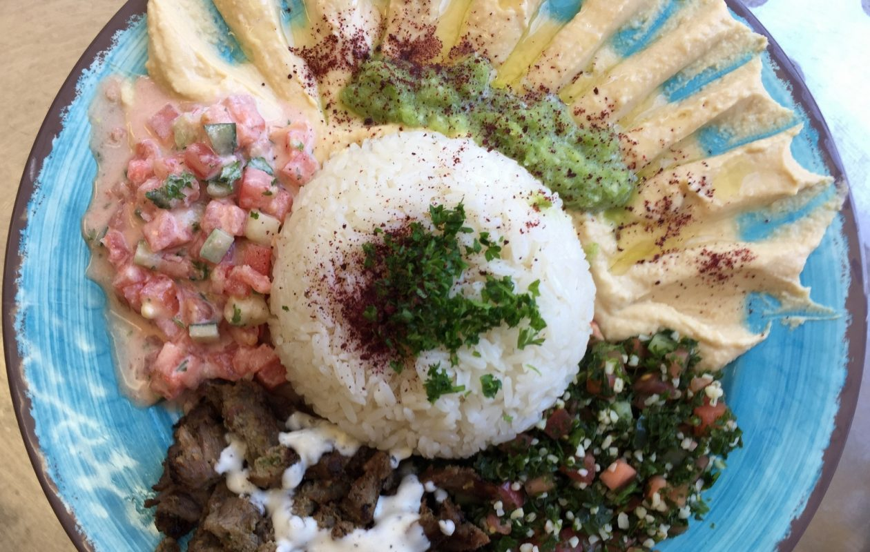 Beef shawarma plate with Jerusalem salad and rice at House of Hummus.  (Andrew Galarneau/Buffalo News)