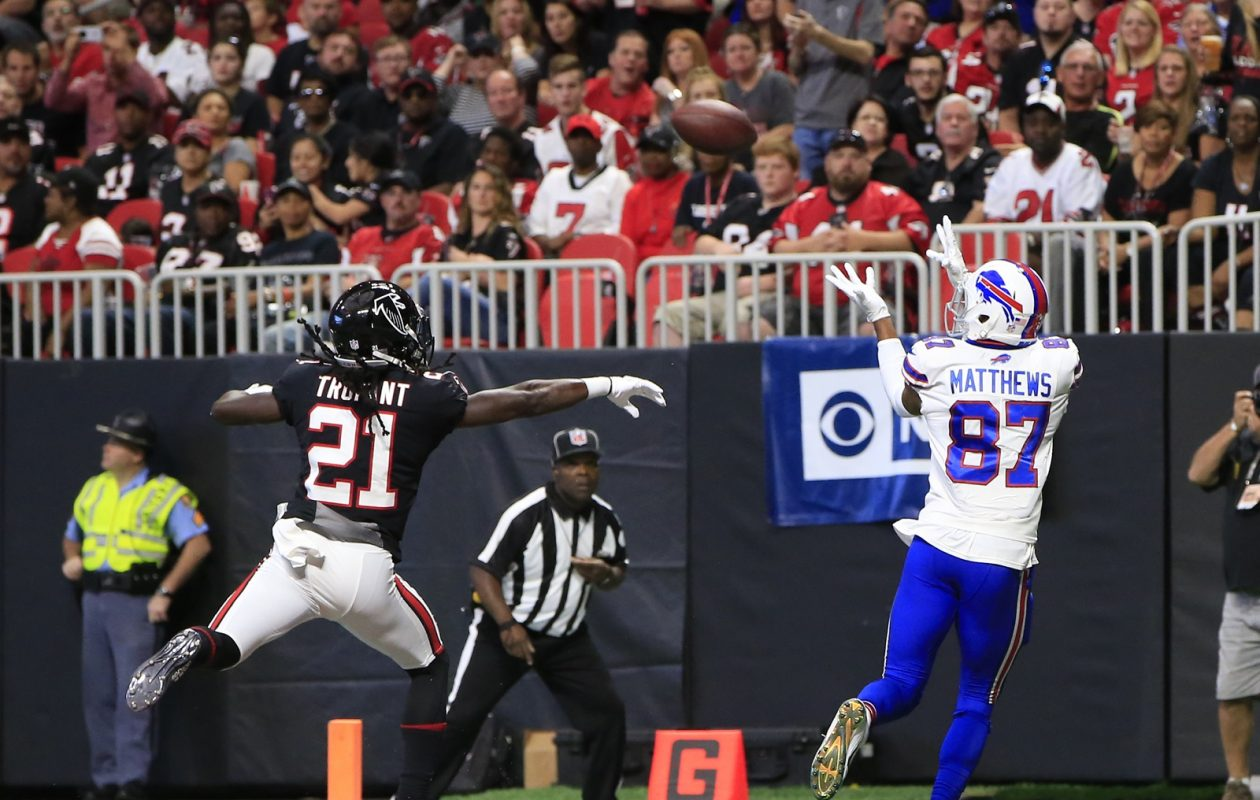 36056ab3302 Buffalo Bills receiver Jordan Matthews scores against the Atlanta Falcons  during second quarter action Sunday in