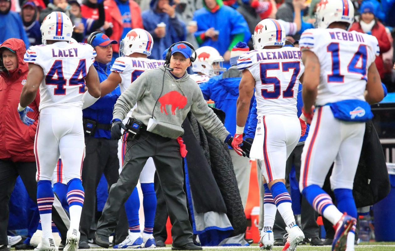 Buffalo Bills head coach Sean McDermott congratulates his defense after a recovered Oakland Raiders fumble during the third quarter at New Era Field in Orchard Park on Sunday, Oct. 29, 2017.  (Harry Scull Jr./ Buffalo News)