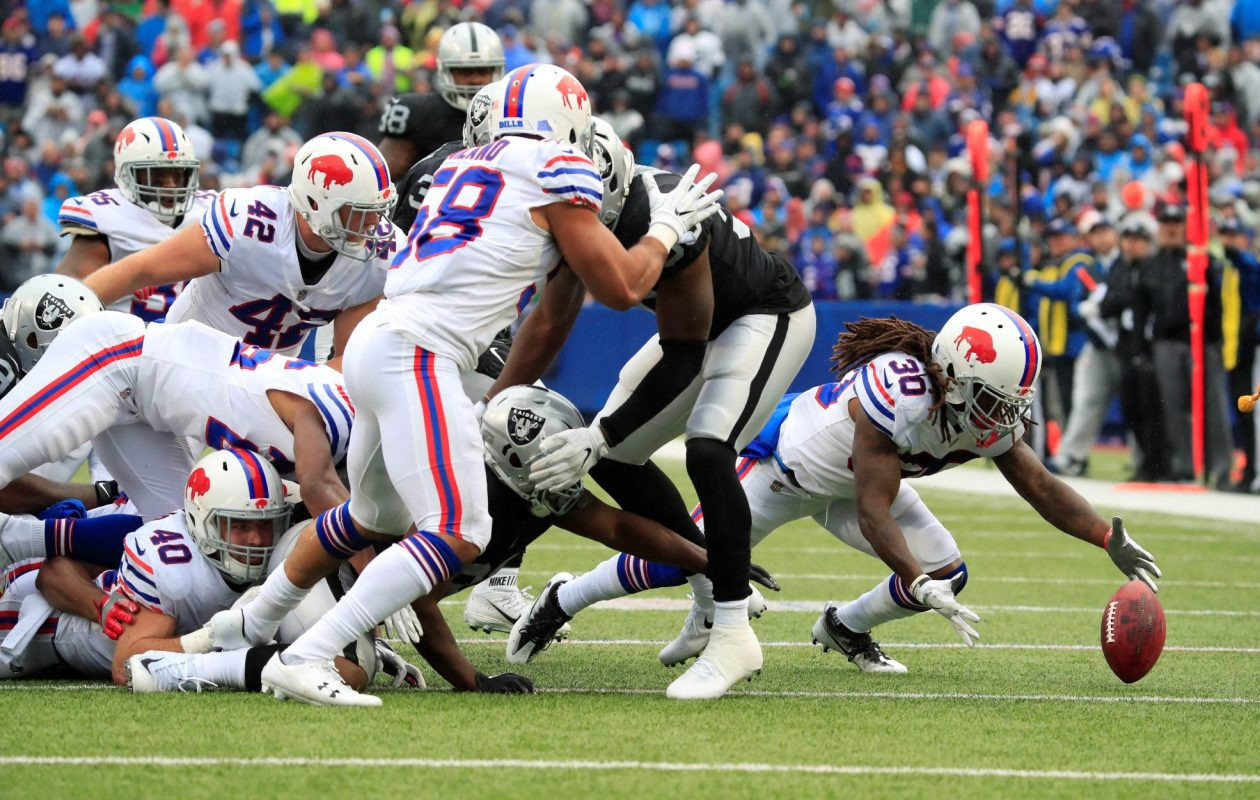 Buffalo Bills cornerback Lafayette Pitts (30) dives on a ball fumbled by the Oakland Raiders during the third quarter at New Era Field in Orchard Park on Sunday, Oct. 29, 2017. The Bills recovered the fumble. (Harry Scull Jr./Buffalo News)