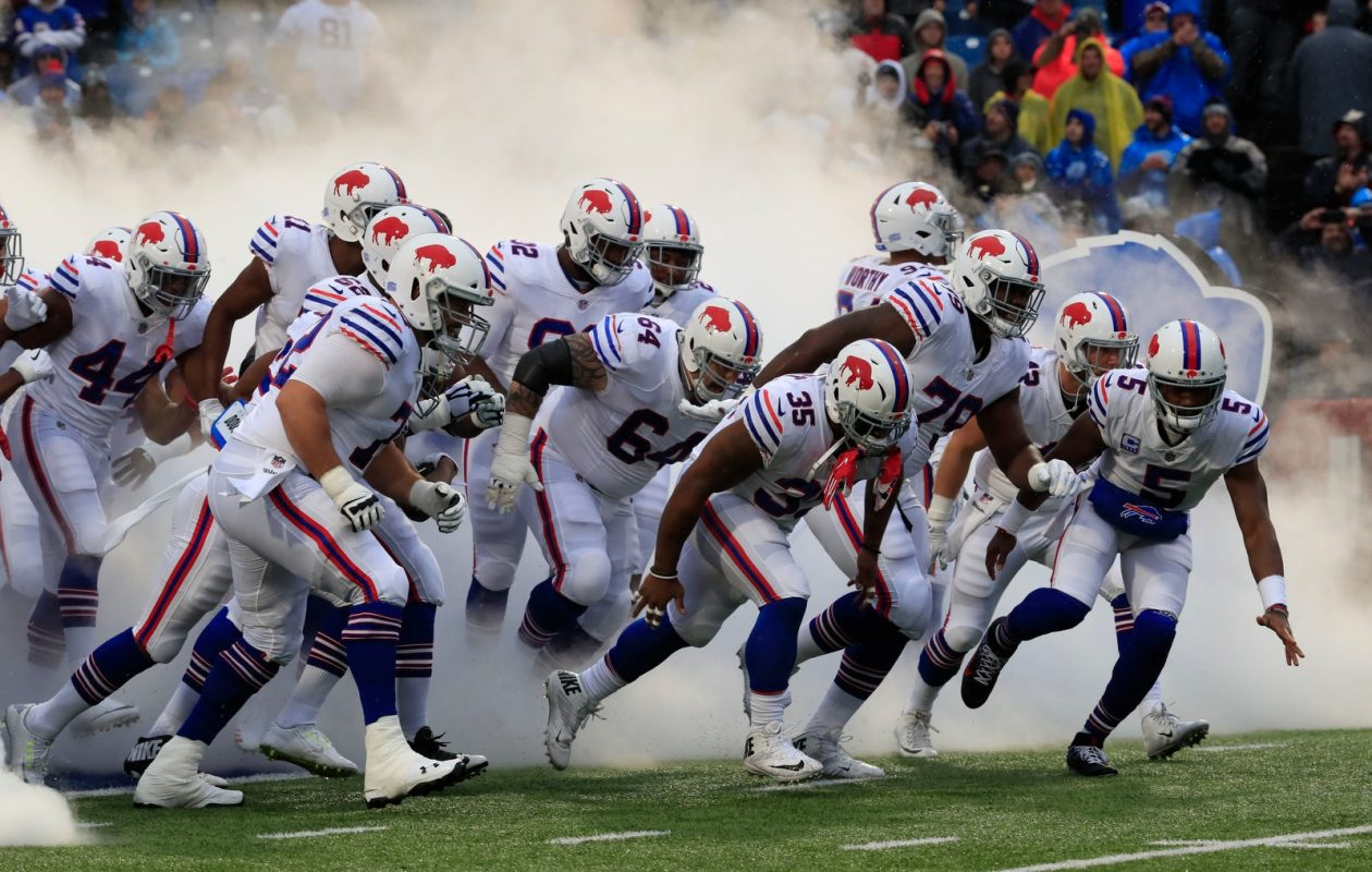 The Bills run onto the field as a team prior to their game against the Raiders on Oct. 29, 2017. (Harry Scull Jr./Buffalo News)