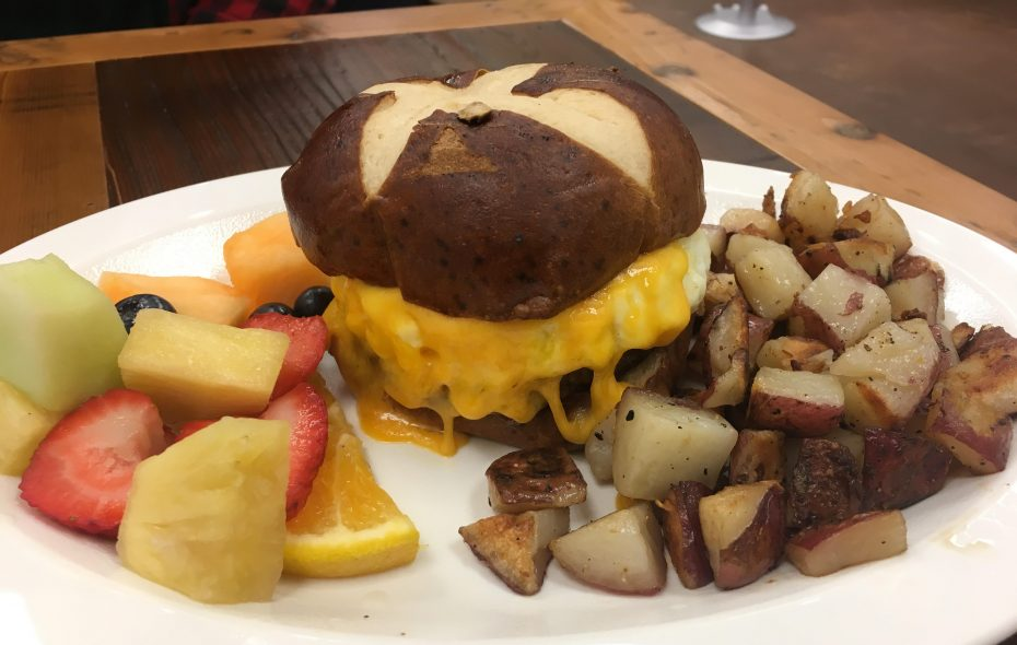 """""""The Pretzel"""" with fresh fruit and breakfast potatoes (Phil Wagner/Special to The News)"""