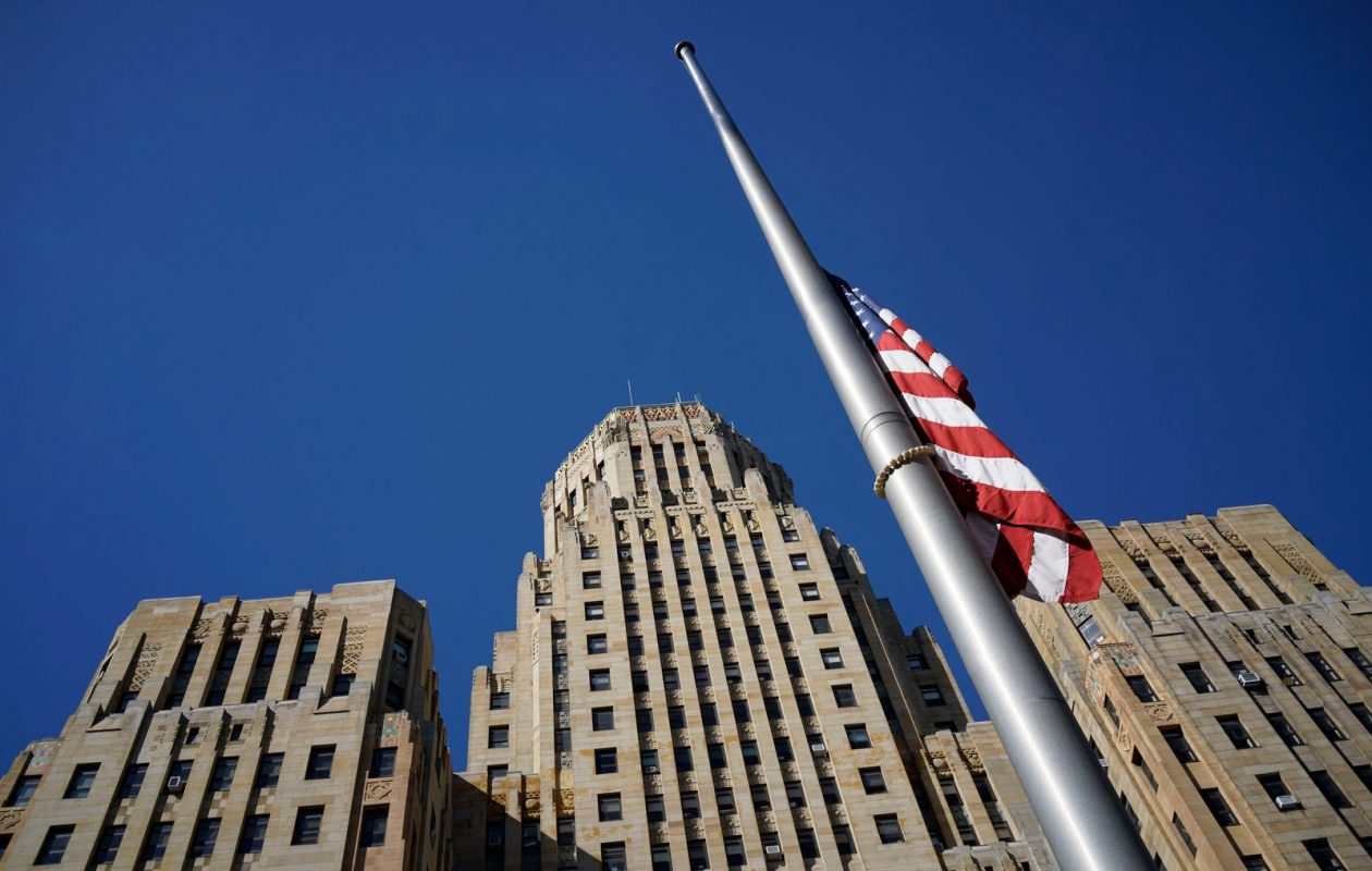 The flag in front of Buffalo City Hall will be lowered to half-staff to honor Officer Craig Lehner. (Derek Gee/Buffalo News)