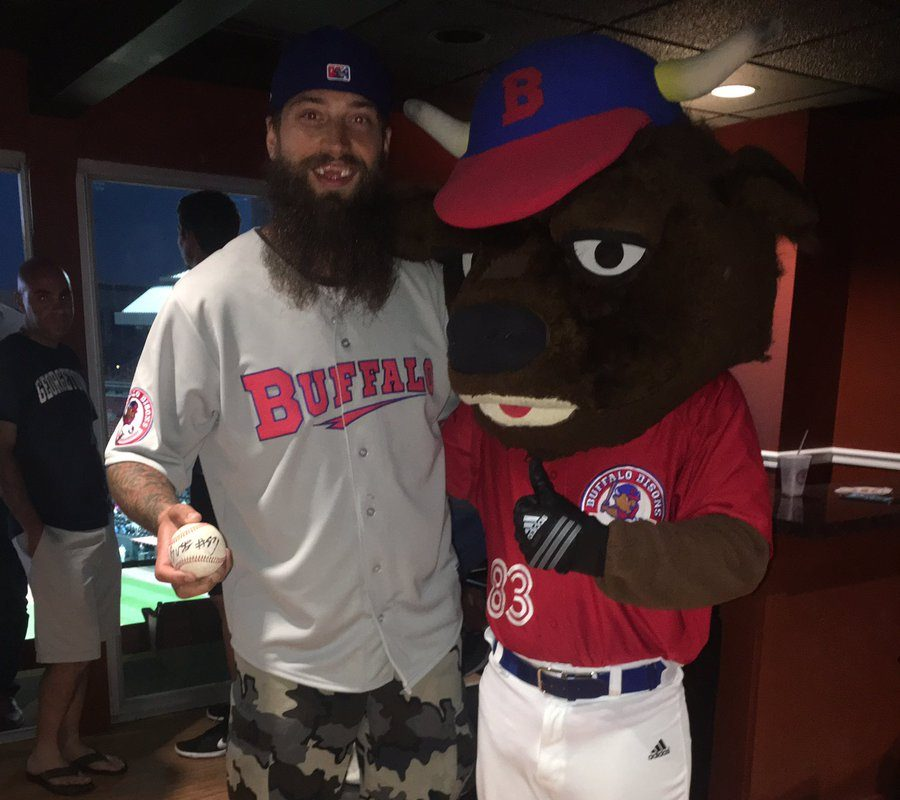 San Jose defenseman Brent Burns gets a visit from Buster Bison during his July 1 trip to Coca-Cola Field (photo courtesy Buffalo Bisons).