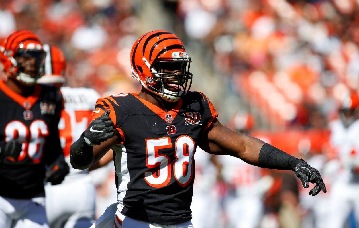'When I was bringing him down, I just see my teeth in the air for like two seconds. I was like, 'Holy crap,' ' Carl Lawson of the Cincinnati Bengals said. (Justin Aller /Getty Images)