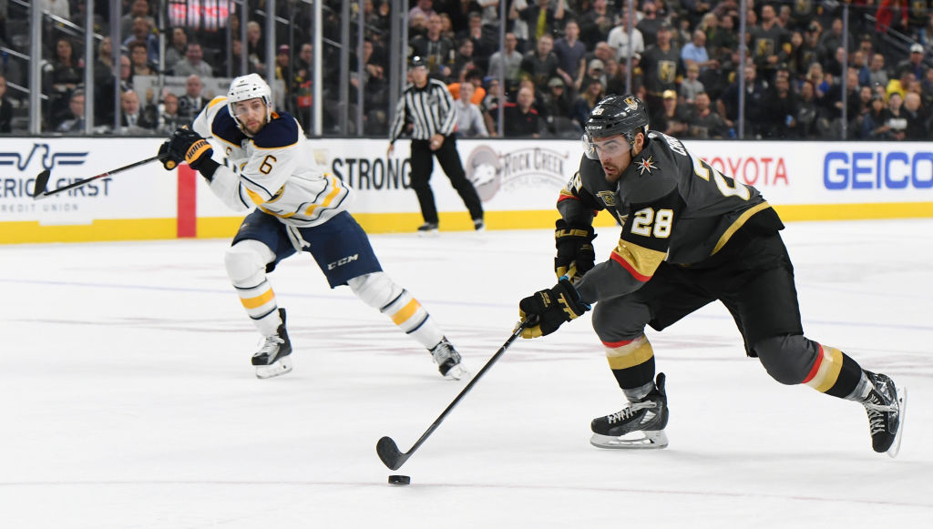Former Sabres winger  William Carrier of the Vegas Golden Knights bursts down the ice past Buffalo defenseman Marco Scandella (Getty Images).