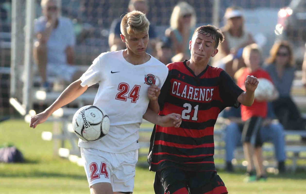 Clarence's Kyle Pollard and the rest of the soccer program will be going pink to benefit the Kevin Guest House. (James P. McCoy/Buffalo News)