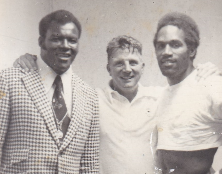 Cookie Gilchrist with Bills coach Lou Saban and O.J. Simpson in the early 1970s. (Photo from the Gilchrist family)
