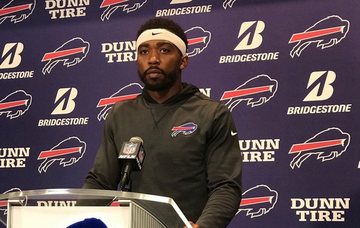Tyrod Taylor addresses the media Wednesday. (Vic Carucci/Buffalo News)