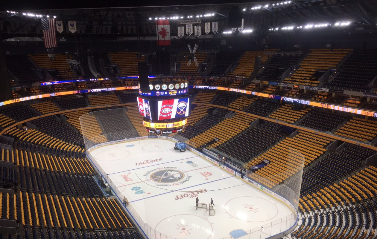 KeyBank Center is decked out in blue and gold for the Sabres' season opener. (Mike Harrington/Buffalo News)