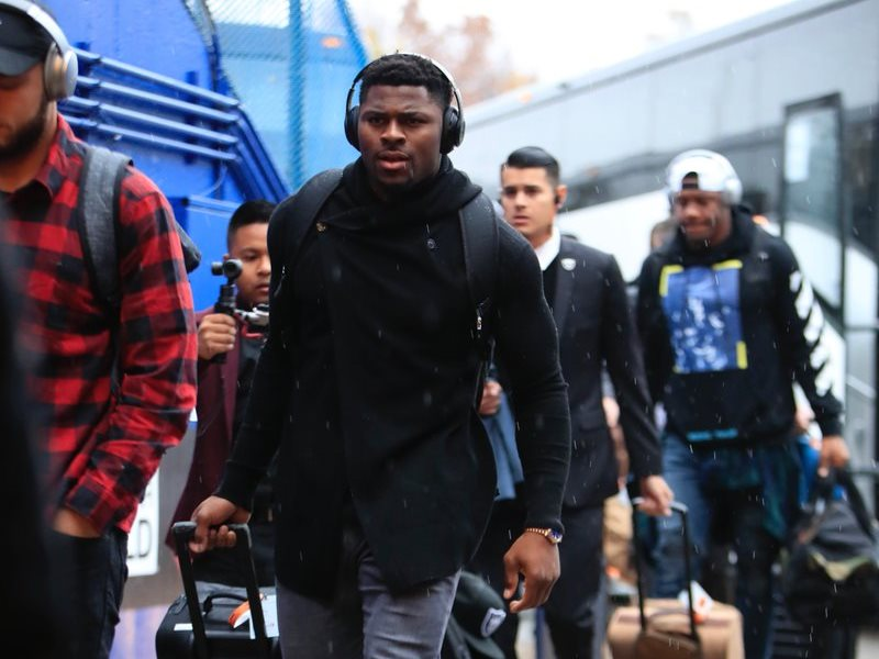 Khalil Mack enters New Era Field Sunday morning. (Harry Scull Jr./Buffalo News)