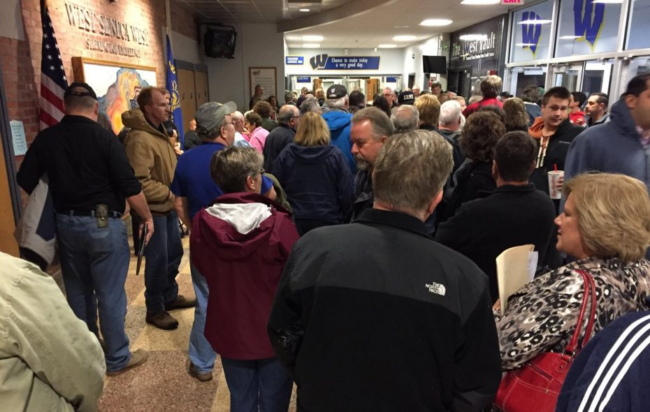 People wait to get into the second session of West Seneca Town Board's budget hearing. (Barbara O'Brien/Buffalo News)