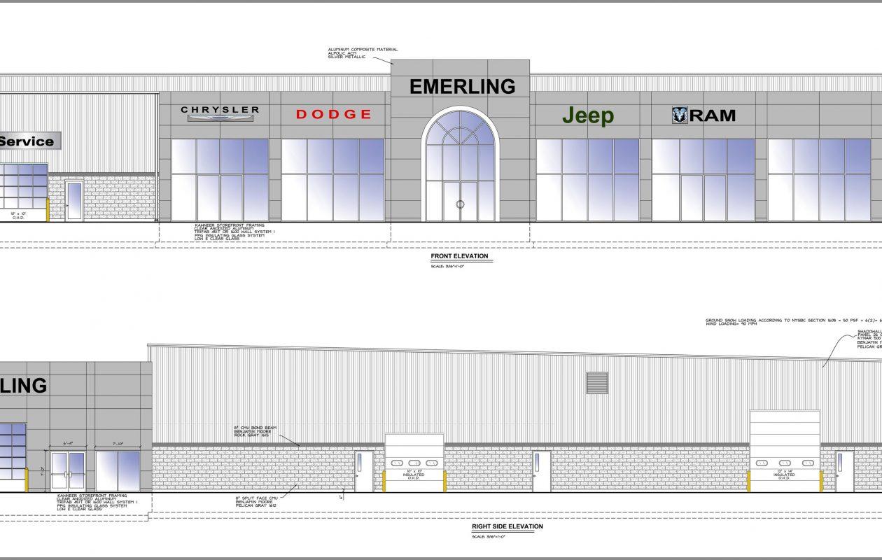 Rendering of new Emerling Chrysler Dodge Jeep Ram Dealership in Springville. (Courtesy Picone Construction)