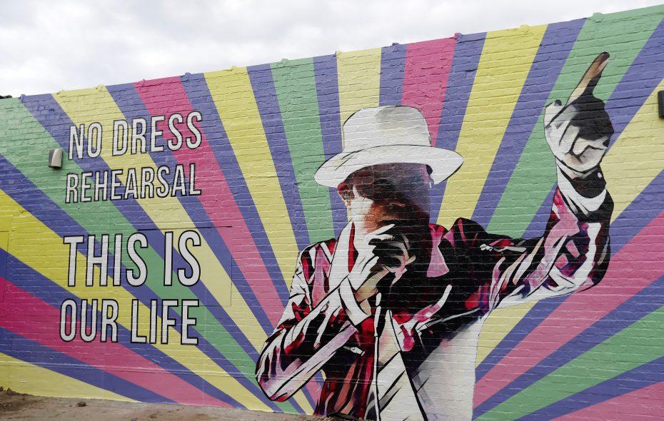 The mural of Gord Downie of the Tragically Hip painted on the wall of Hertel Liquor Library building. (Mark Mulville/News file photo)