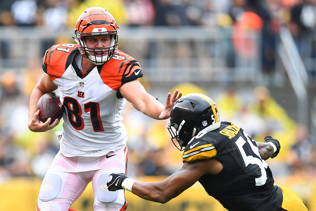 Tyler Kroft (81) is perhaps the most intriguing fantasy option of Sunday's Bills game. (Getty Images)