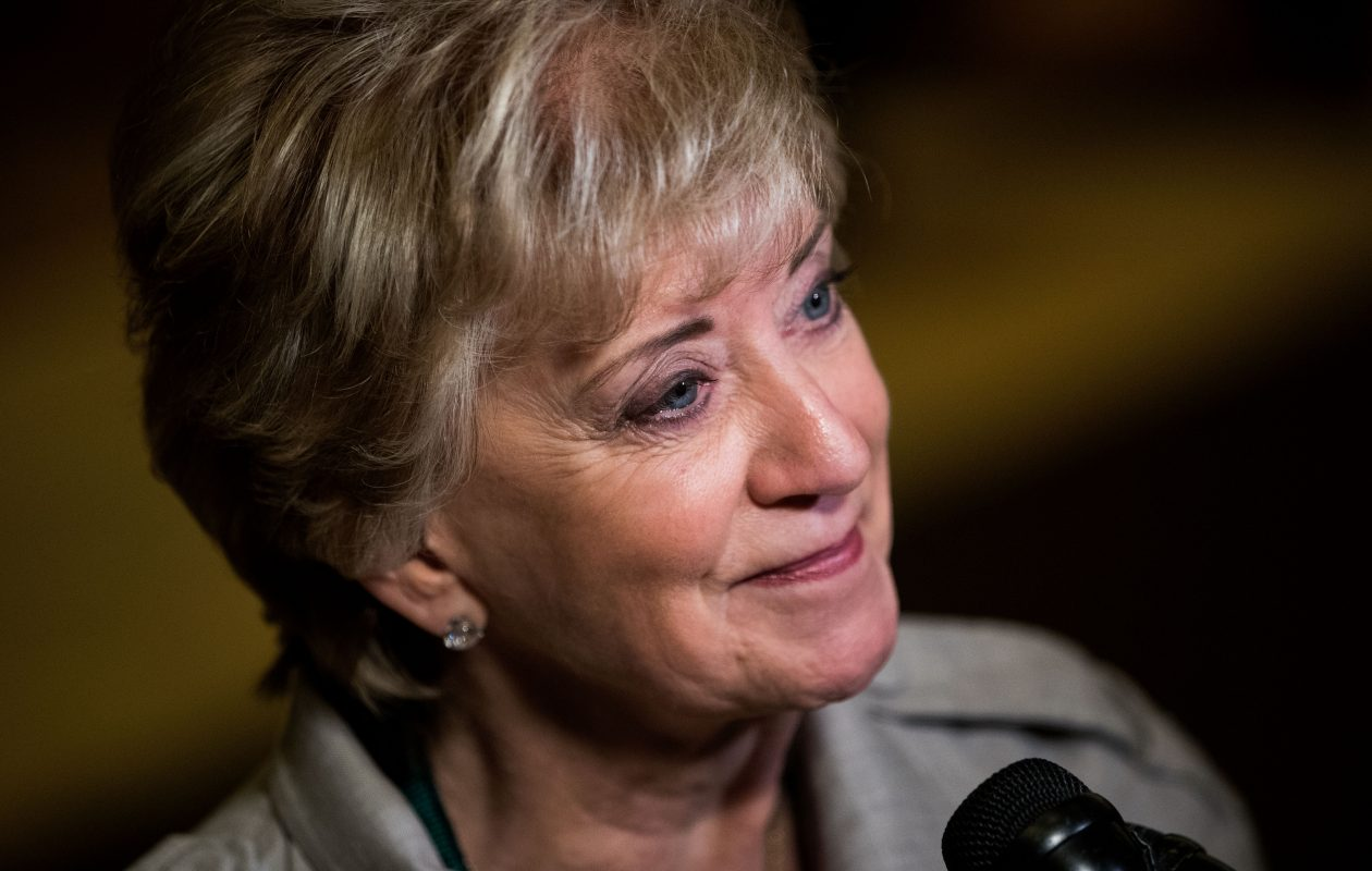 Linda McMahon, former CEO of World Wrestling Entertainment, speaks to reporters in November 2016. Now head of the Small Business Administration, she is scheduled to come to Buffalo next week. (Drew Angerer/Getty Images)