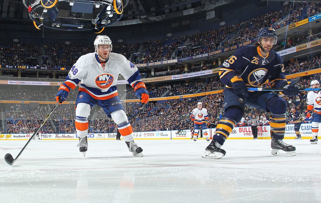 The Sabres' Matt Moulson has six goals and eight points in 10 games against the Islanders. (NHLI via Getty Images)