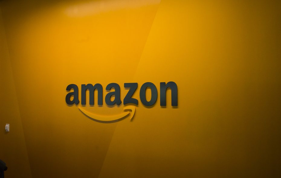 An Amazon logo is seen inside the Amazon corporate headquarters in Seattle.  (David Ryder/Getty Images)