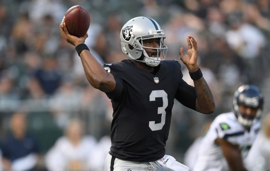 EJ Manuel throws for the Raiders in a preseason game at Oakland-Alameda County Coliseum on August 31, 2017 in Oakland, California.