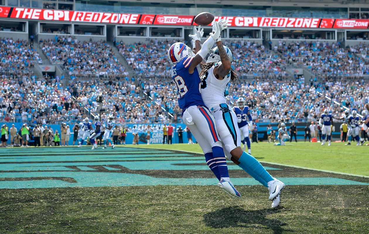 E.J. Gaines of the Buffalo Bills is called for pass interference as he defends Kelvin Benjamin  on Sept. 17, 2017.  (Getty Images)