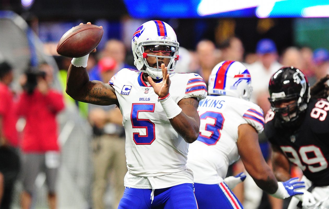 Tyrod Taylor of the Buffalo Bills drops back to pass during the first half against the Atlanta Falcons at Mercedes-Benz Stadium. (Scott Cunningham/Getty Images)