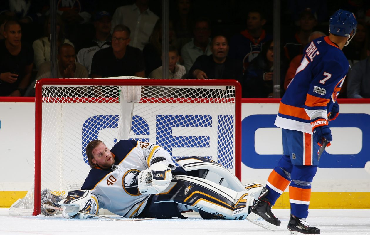 It was a rough Saturday for Robin Lehner, who was pulled after allowing four goals and had his helmet knocked off in a collision. (NHLI via Getty Images)