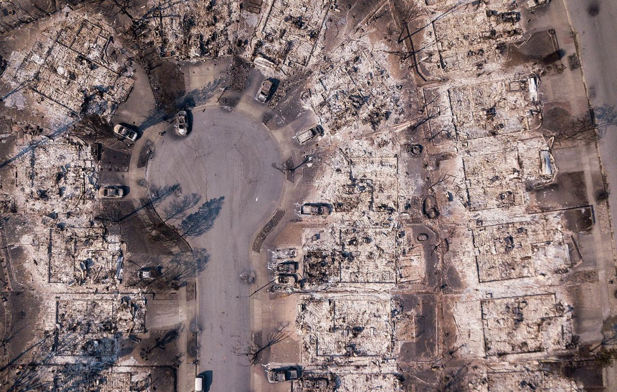The devastation as seen from the air in the Coffey Park neighborhood in Santa Rosa, Calif. (Getty Images)