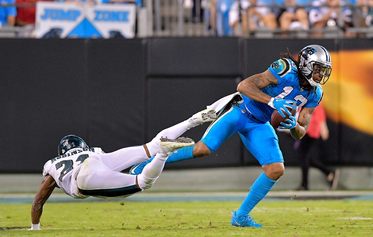 Kelvin Benjamin of the Carolina Panthers fakes out Patrick Robinson. (Getty Images)