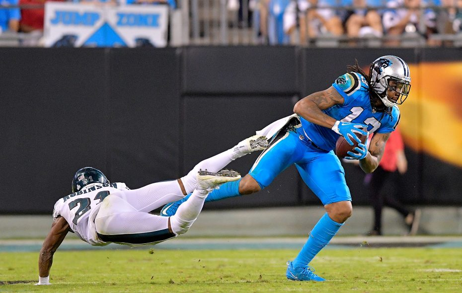 Kelvin Benjamin of the Carolina Panthers fakes out Patrick Robinson. (Getty Images)
