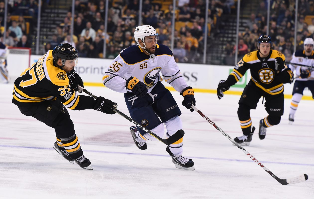 Justin Bailey moved to the Sabres' top line against Patrice Bergeron and the Bruins on Saturday. (NHLI via Getty Images)