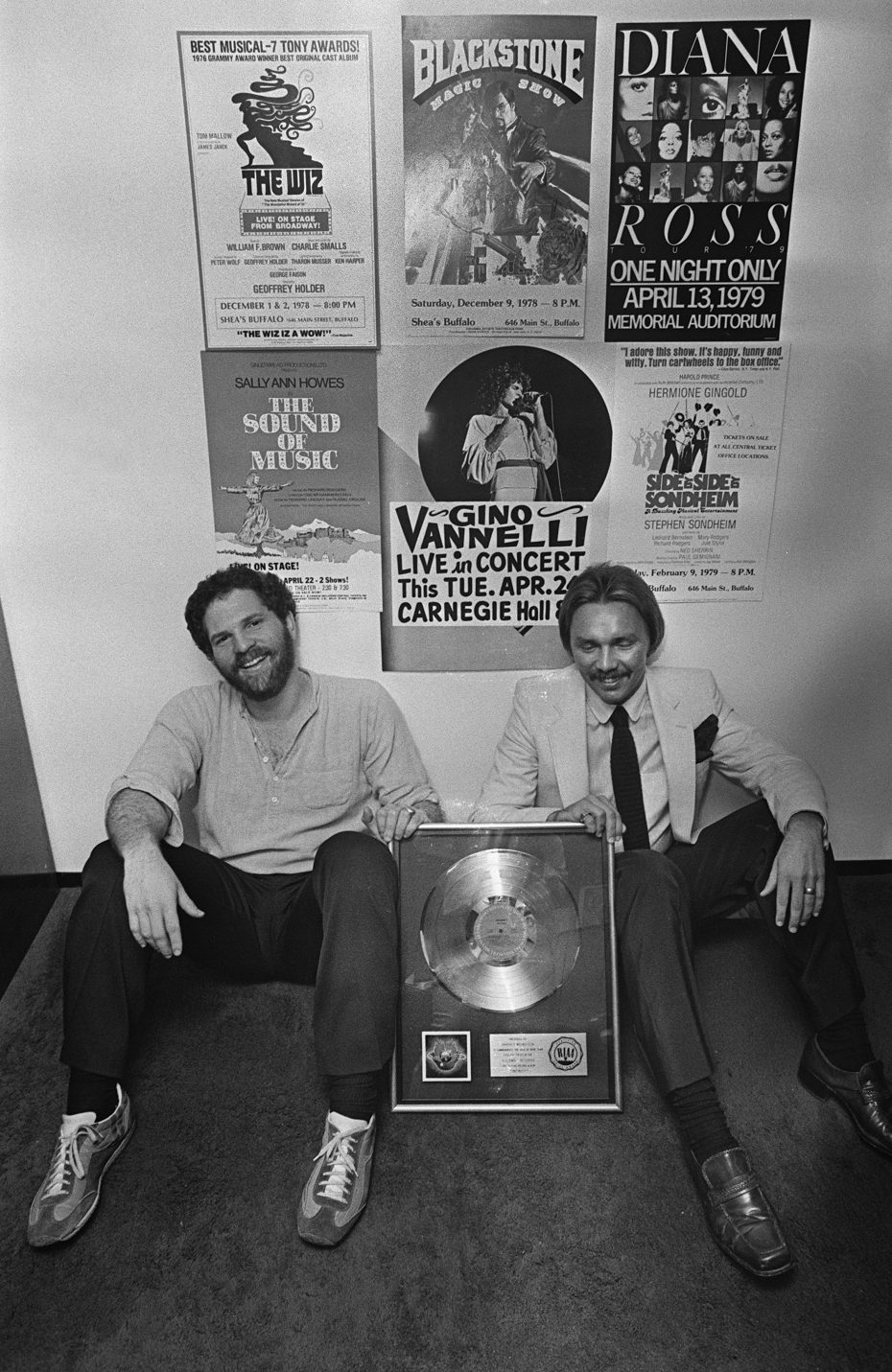 Corky Berger, left, and Harvey Weinstein in the office of Harvey and Corky Productions in Memorial Auditorium. (Photo by Mickey H. Osterreicher)