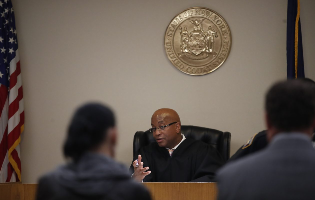 Judge Craig D. Hannah presides over the first opioid intervention court in the nation in Buffalo in this 2017 photo. The court's services are expanding to the rest of Erie County, and Amherst and Niagara Falls are opening their own opiate courts. (Sharon Cantillon/News file photo)
