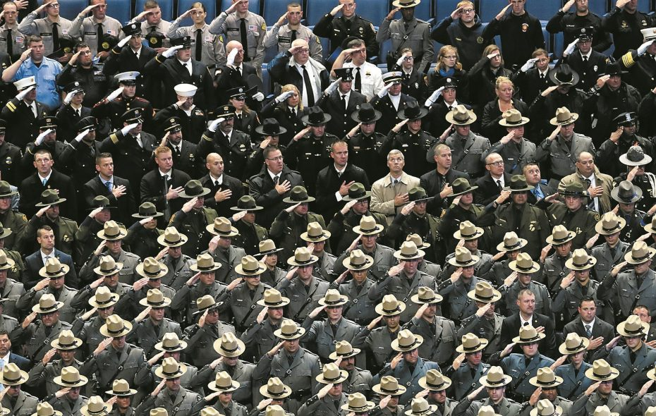 The funeral for Buffalo Police officer Craig E. Lehner at the KeyBank Center on Wednesday. (Harry Scull Jr./ Buffalo News)