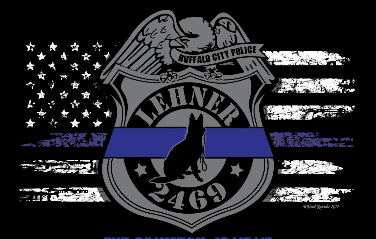 Officer Craig E. Lehner tribute T-shirt designed by Park Avenue Imprints in Lackawanna.