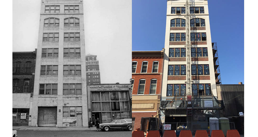 At left, 510 Washington St. in the 1970s, and at right, work in progress at Alexandre Apartments. (Photos courtesy of Amy Judd)