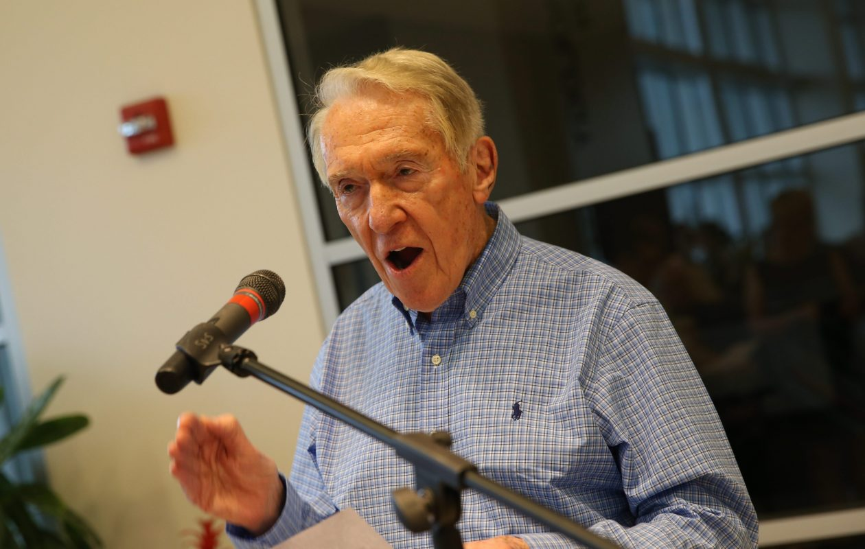 Marv Levy sings the fight song he wrote for the Buffalo Bills when he coached the team at a private event in 2015.  (Sharon Cantillon/Buffalo News file photo)