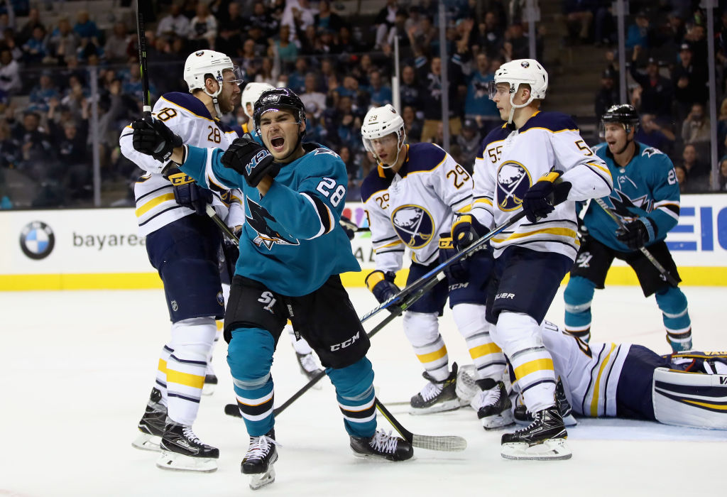Timo Meier of the Sharks celebrates his go-ahead goal in the second period against the Sabres on Thursday (Getty Images).