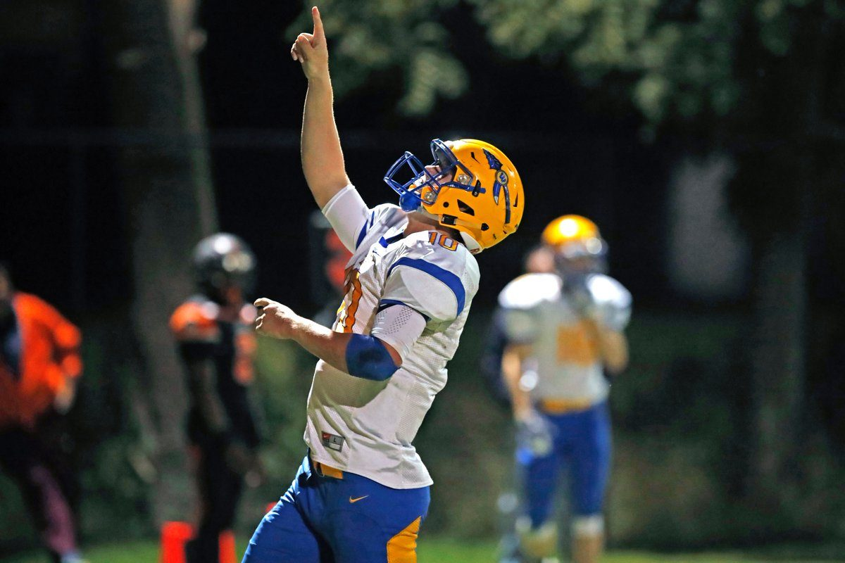 Matt Myers helped West Seneca West clinch a share of the Class A South Division title and a No. 1 seed for the playoffs with his four-touchdown effort in Friday's 35-28 win over West Seneca East. (Harry Scull Jr./Buffalo News)