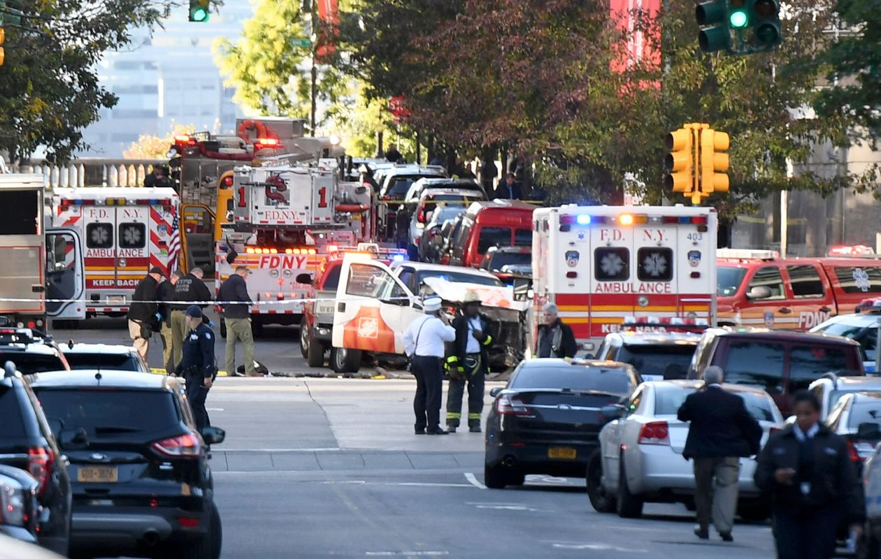 Police officers inspect a truck following a suspected terror incident in New York on October 31, 2017.  Several people were killed and numerous others injured in New York on Tuesday when a suspect plowed a vehicle into a bike and pedestrian path in Lower Manhattan, and struck another vehicle on Halloween, police said. (Getty Images)
