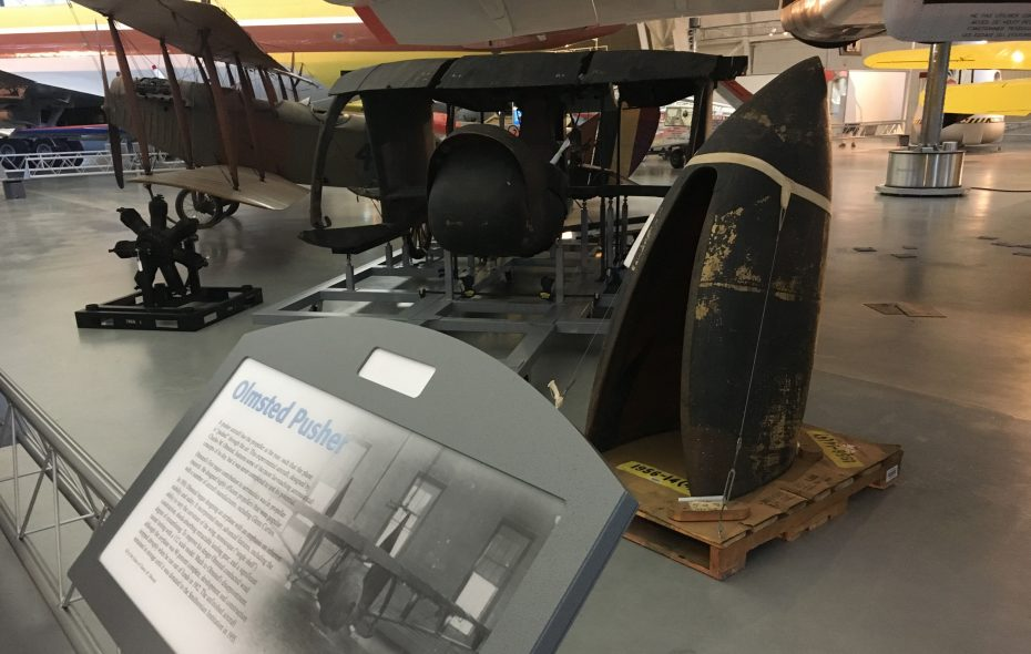 The Olmsted Pusher  plane was the first airplane built in Buffalo. It went on display this month at the National Air and Space Museum, Udvar-Hazy Center in Chantilly, Va. (Photo courtesy of Jeffrey Hiday)