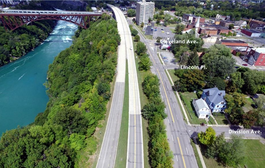 A 2017 view of the Niagara Scenic Parkway in Niagara Falls, looking north from Division Street with the Niagara River and the Whirlpool Rapids Bridge on the left. (Courtesy Empire State Development)