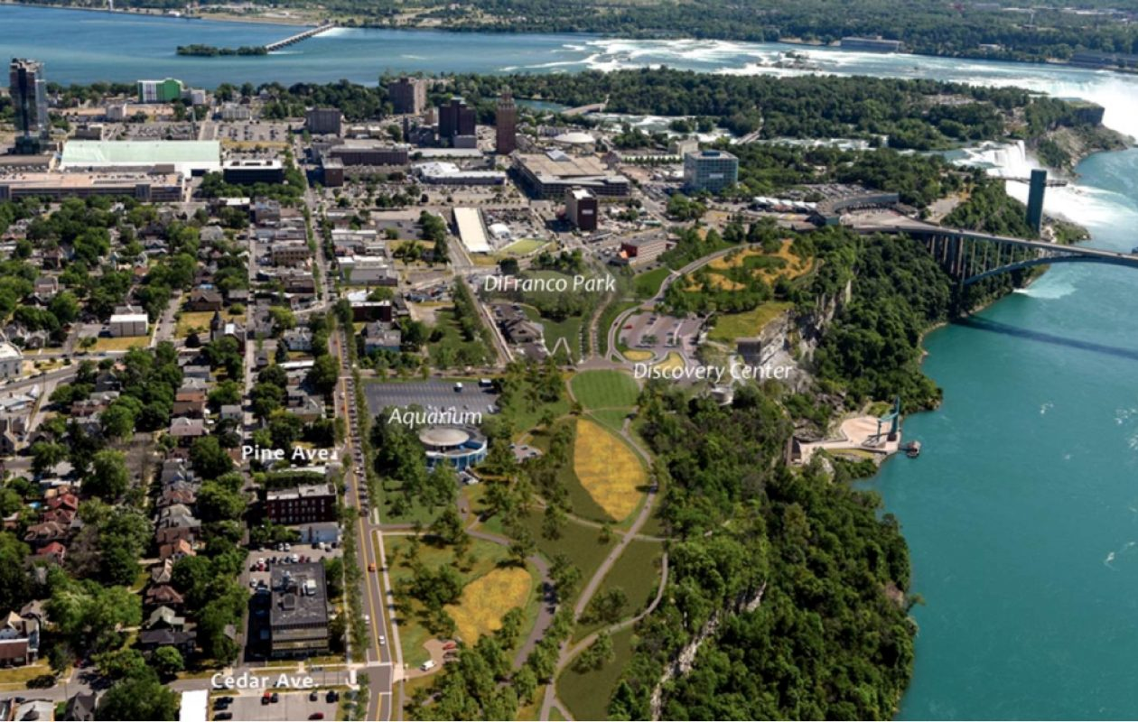 The proposed new downtown Niagara Falls, without the Niagara Scenic Parkway, looking south from Cedar Avenue. (Courtesy Empire State Development)