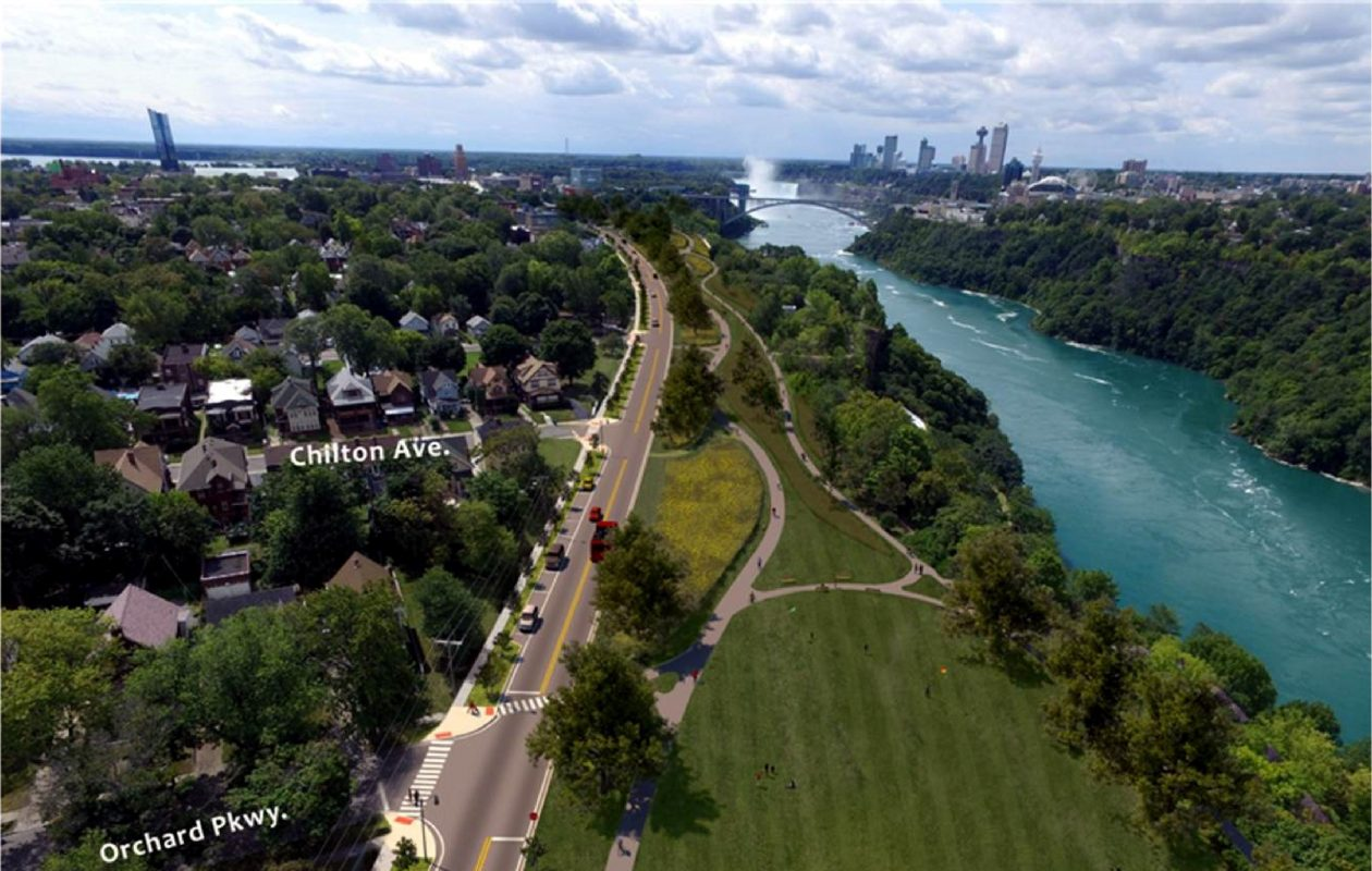 View looking south from Orchard Parkway to downtown Niagara Falls shows how the city's northern waterfront would look without the Niagara Scenic Parkway. (Courtesy Empire State Development)